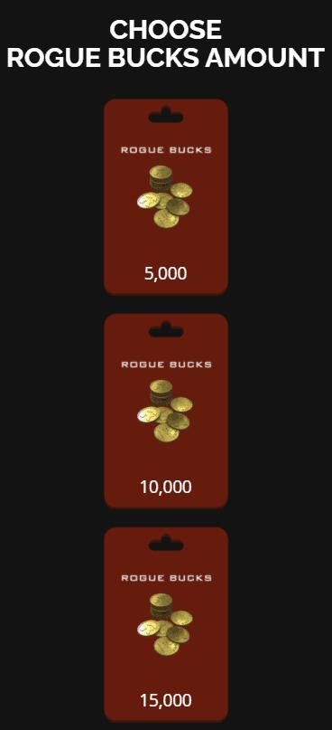 free rogue bucks amount