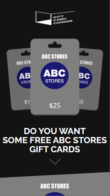 When you access the ABC Store gift card generator it looks like this.