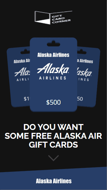 The first part we see when we access the generator for the Alaska Air gift card.