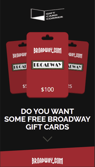 When you enter into the Broadway Gift Card generator, you see this.